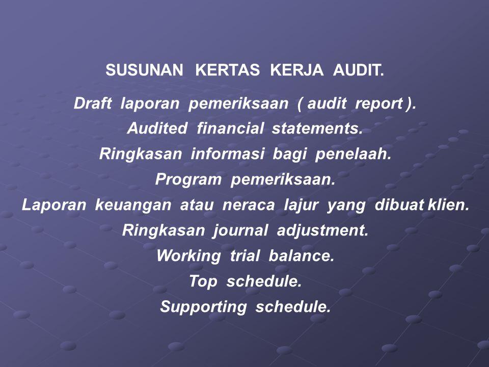 SUSUNAN KERTAS KERJA AUDIT. Draft laporan pemeriksaan ( audit report ). Audited financial statements. Ringkasan informasi bagi penelaah. Program pemer