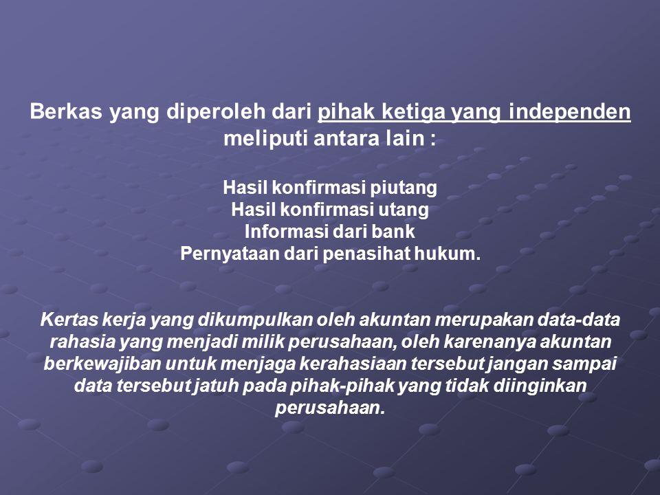 Berkas yang diperoleh dari pihak ketiga yang independen meliputi antara lain : Hasil konfirmasi piutang Hasil konfirmasi utang Informasi dari bank Per