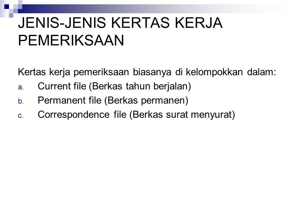 JENIS-JENIS KERTAS KERJA PEMERIKSAAN Kertas kerja pemeriksaan biasanya di kelompokkan dalam: a. Current file (Berkas tahun berjalan) b. Permanent file
