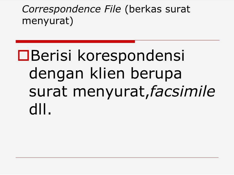 Correspondence File (berkas surat menyurat)  Berisi korespondensi dengan klien berupa surat menyurat,facsimile dll.