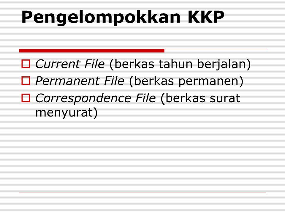 Pengelompokkan KKP  Current File (berkas tahun berjalan)  Permanent File (berkas permanen)  Correspondence File (berkas surat menyurat)