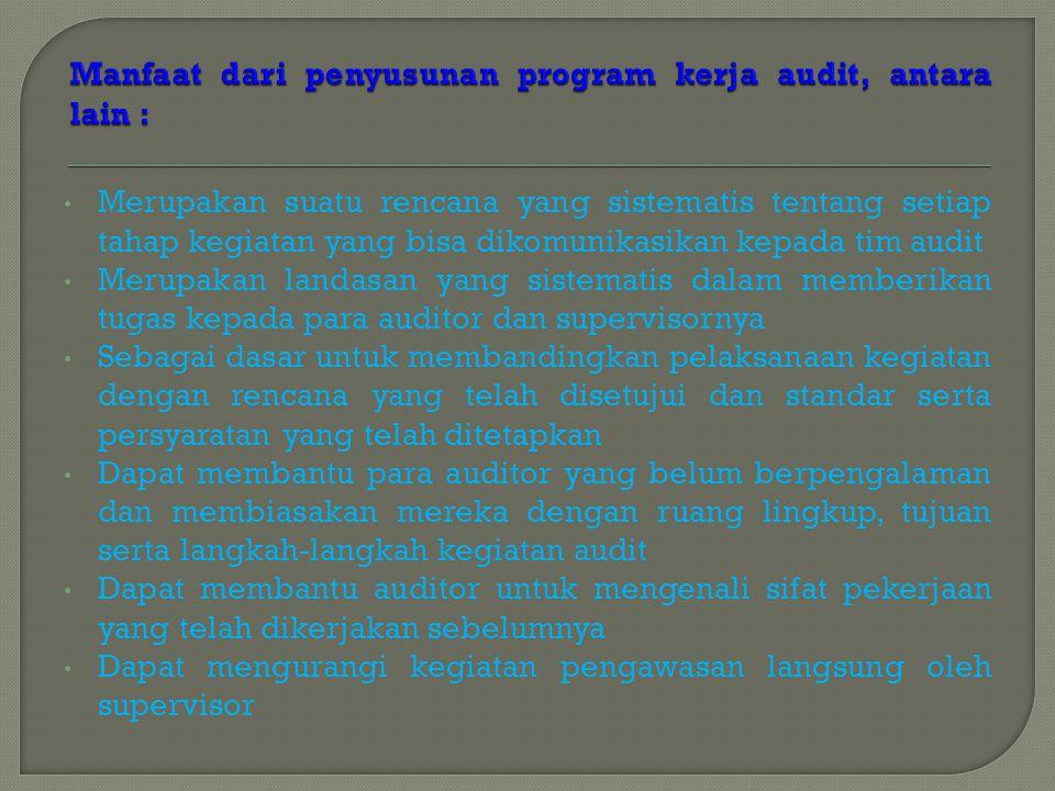 Merupakan suatu rencana yang sistematis tentang setiap tahap kegiatan yang bisa dikomunikasikan kepada tim audit Merupakan landasan yang sistematis da