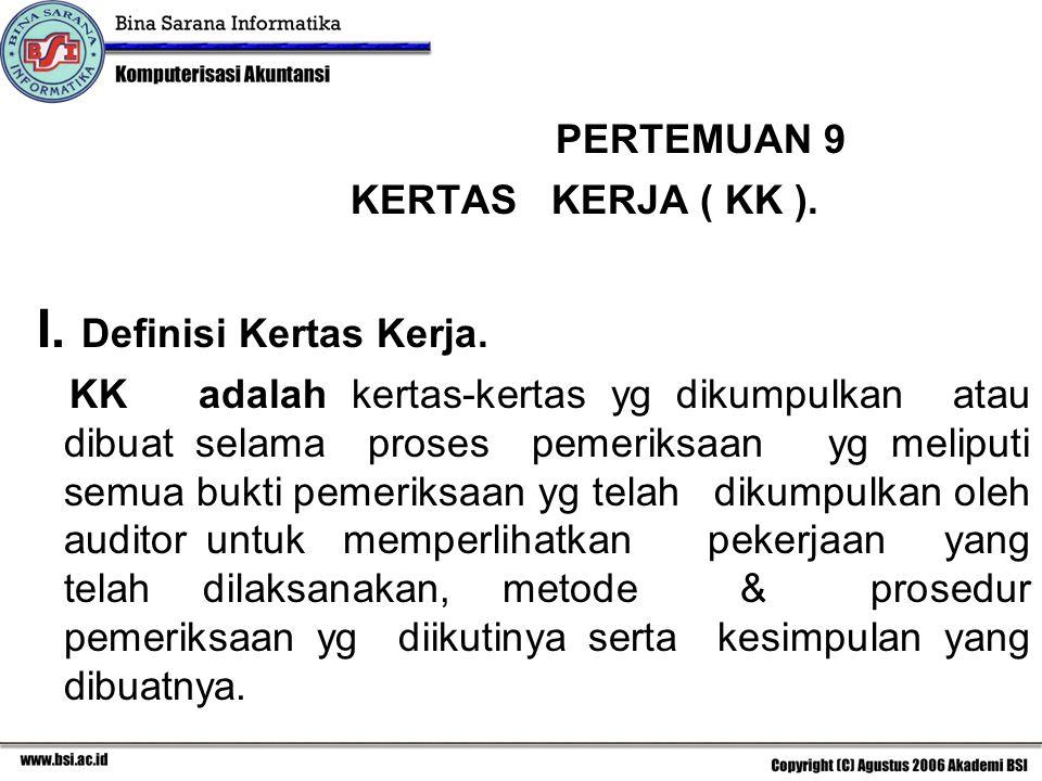 PERTEMUAN 9 KERTAS KERJA ( KK ). I. Definisi Kertas Kerja. KK adalah kertas-kertas yg dikumpulkan atau dibuat selama proses pemeriksaan yg meliputi se