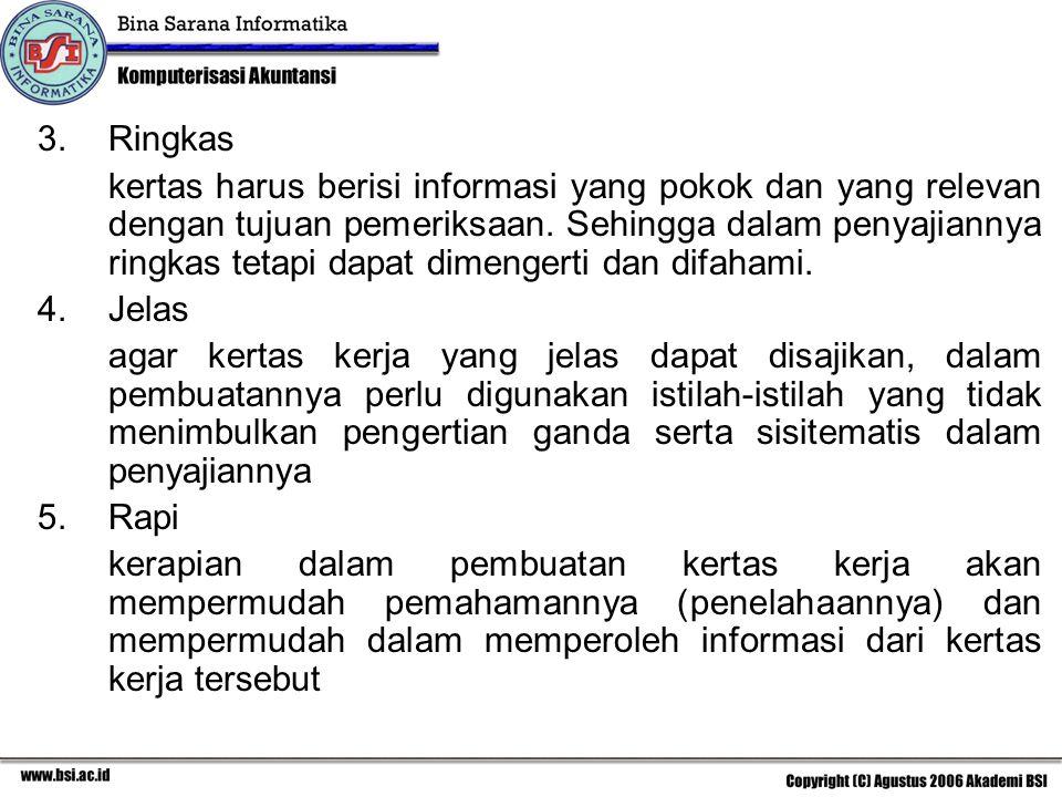 3.Ringkas kertas harus berisi informasi yang pokok dan yang relevan dengan tujuan pemeriksaan. Sehingga dalam penyajiannya ringkas tetapi dapat dimeng
