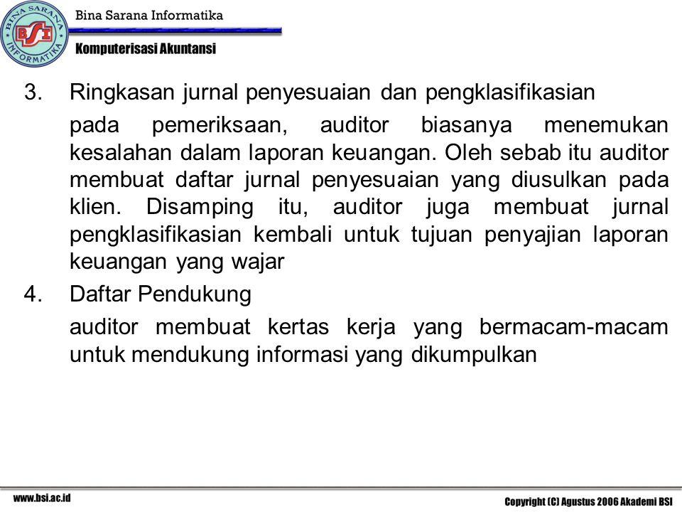 3.Ringkasan jurnal penyesuaian dan pengklasifikasian pada pemeriksaan, auditor biasanya menemukan kesalahan dalam laporan keuangan. Oleh sebab itu aud