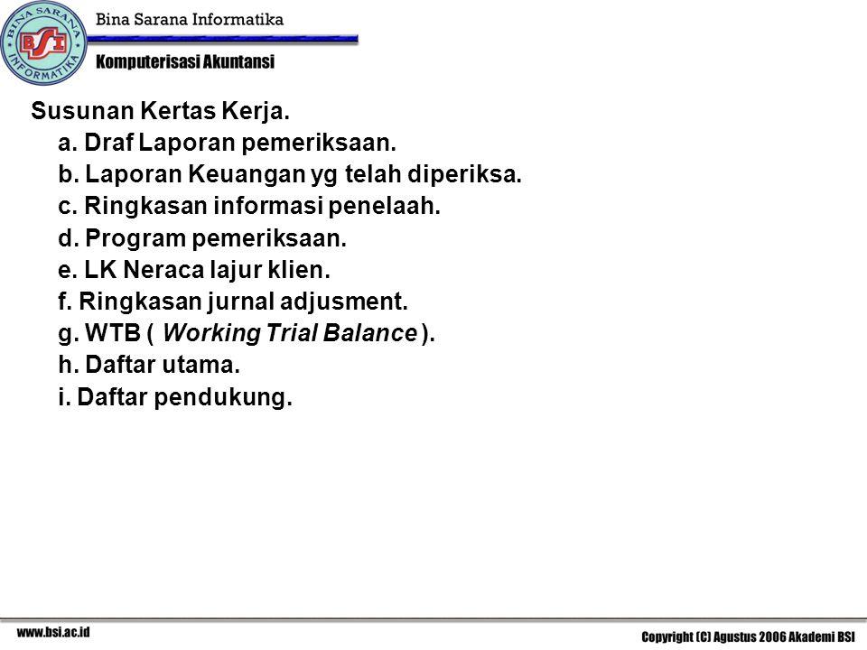Susunan Kertas Kerja. a. Draf Laporan pemeriksaan. b. Laporan Keuangan yg telah diperiksa. c. Ringkasan informasi penelaah. d. Program pemeriksaan. e.