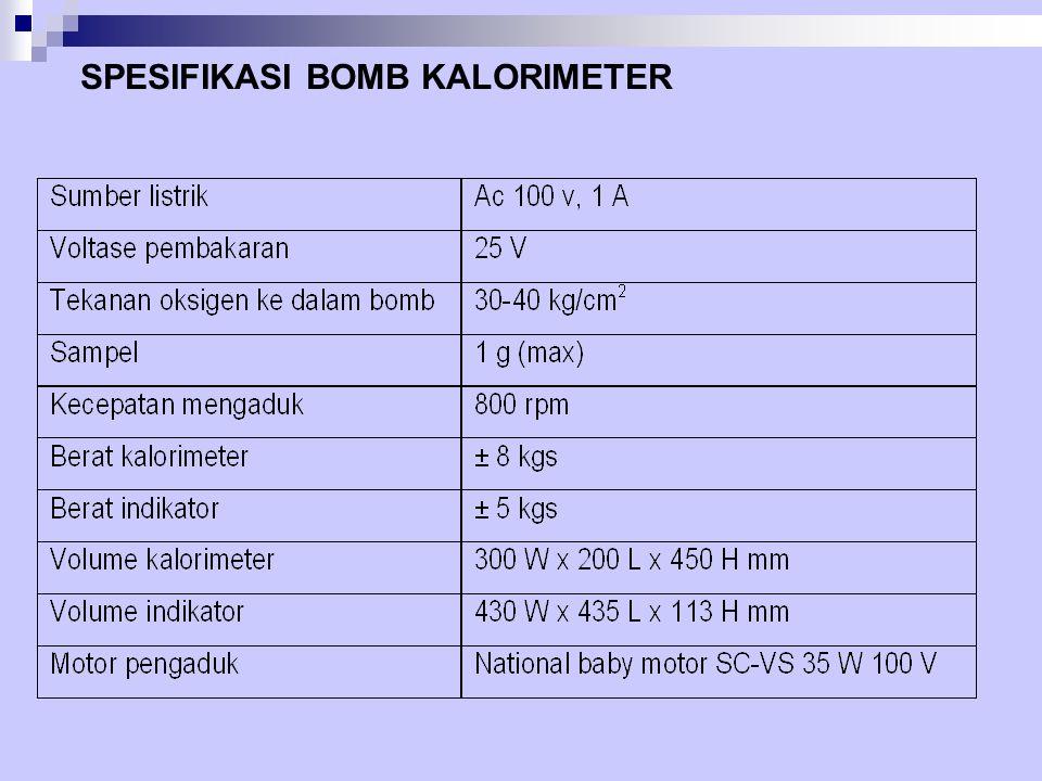 Hal-hal penting : Setelah memasukkan sampel kedalam bomb Kalorimeter, harga kalori akan ditunjukkan oleh digit hanya dengan menutup tombol untuk pembakaran tanpa perhitungan yang rumit.