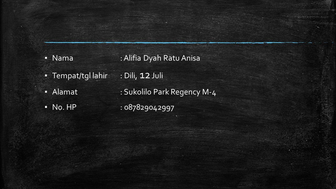 ▪ Nama : Alifia Dyah Ratu Anisa ▪ Tempat/tgl lahir : Dili, 12 Juli ▪ Alamat : Sukolilo Park Regency M-4 ▪ No.