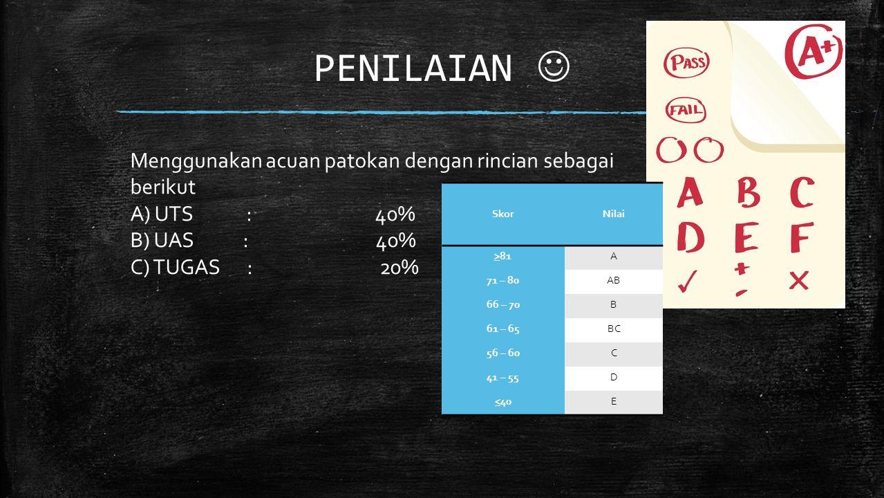PENILAIAN Menggunakan acuan patokan dengan rincian sebagai berikut A) UTS : 40% B) UAS : 40% C) TUGAS : 20% SkorNilai >81A 71 – 80AB 66 – 70B 61 – 65BC 56 – 60C 41 – 55D <40E