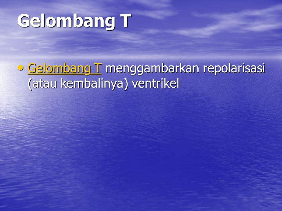 Gelombang T Gelombang T menggambarkan repolarisasi (atau kembalinya) ventrikel Gelombang T menggambarkan repolarisasi (atau kembalinya) ventrikel Gelo