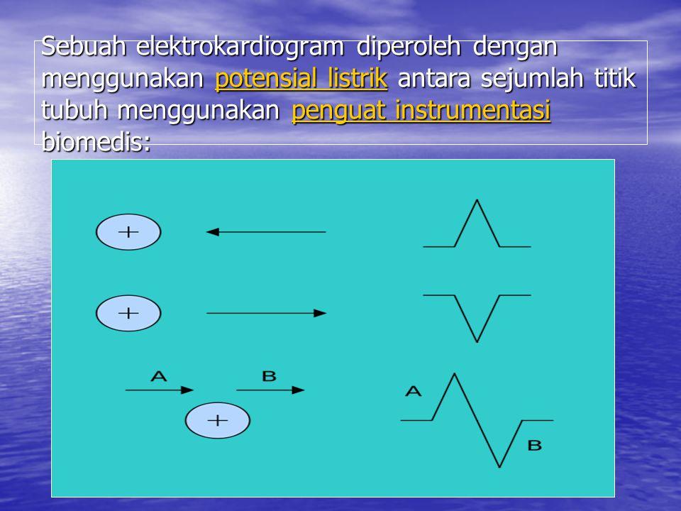 Sebuah elektrokardiogram diperoleh dengan menggunakan potensial listrik antara sejumlah titik tubuh menggunakan penguat instrumentasi biomedis: potens