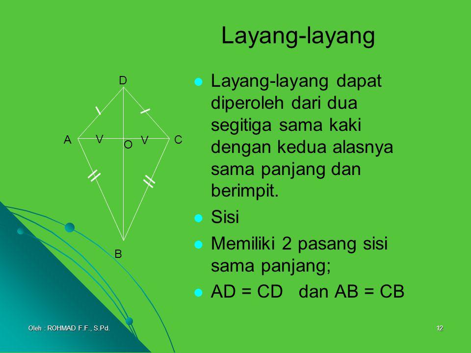 12 Layang-layang dapat diperoleh dari dua segitiga sama kaki dengan kedua alasnya sama panjang dan berimpit. Sisi Memiliki 2 pasang sisi sama panjang;