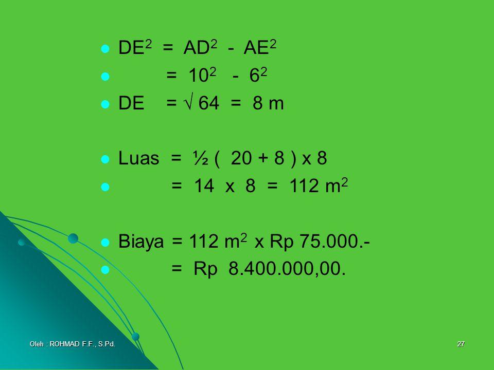 27 DE 2 = AD 2 - AE 2 = 10 2 - 6262 DE =  64 = 8 m Luas = ½ ( 20 + 8 ) x 8 = 14 x 8 = 112 m2m2 Biaya = 112 m 2 x Rp 75.000.- = Rp 8.400.000,00. Oleh