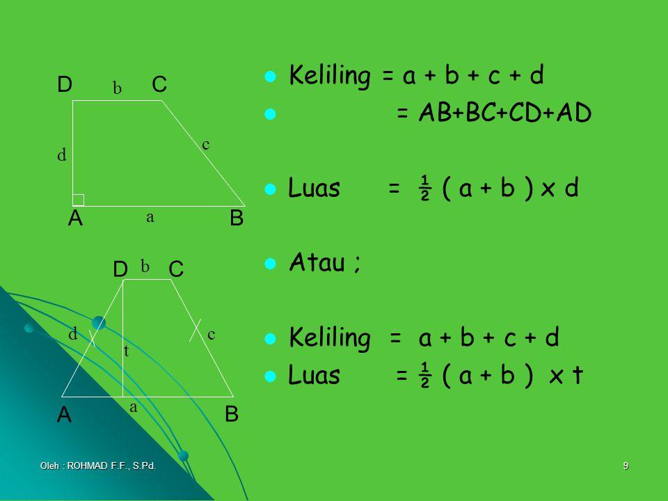 9 Keliling = a + b + c + d = AB+BC+CD+AD Luas = ½ ( a + b ) x d Atau ; Keliling = a + b + c + d Luas = ½ ( a + b ) x t A C B D a b d c A DC B a t b dc