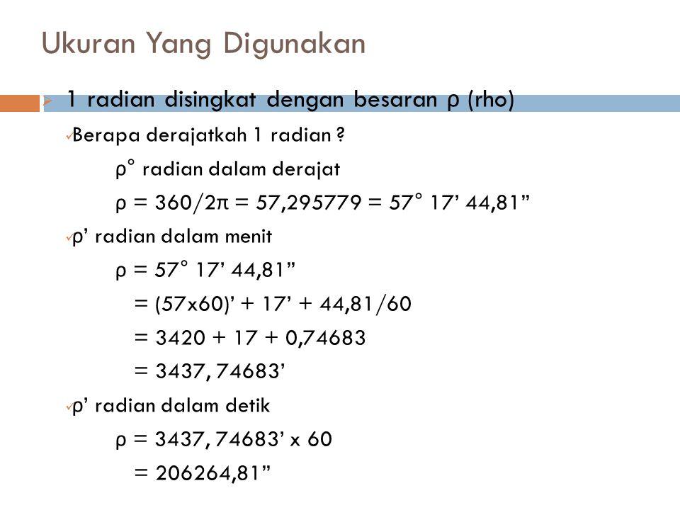 Ukuran Yang Digunakan  1 radian disingkat dengan besaran ρ (rho) Berapa derajatkah 1 radian ? ρ ° radian dalam derajat ρ = 360/2 π = 57,295779 = 57°