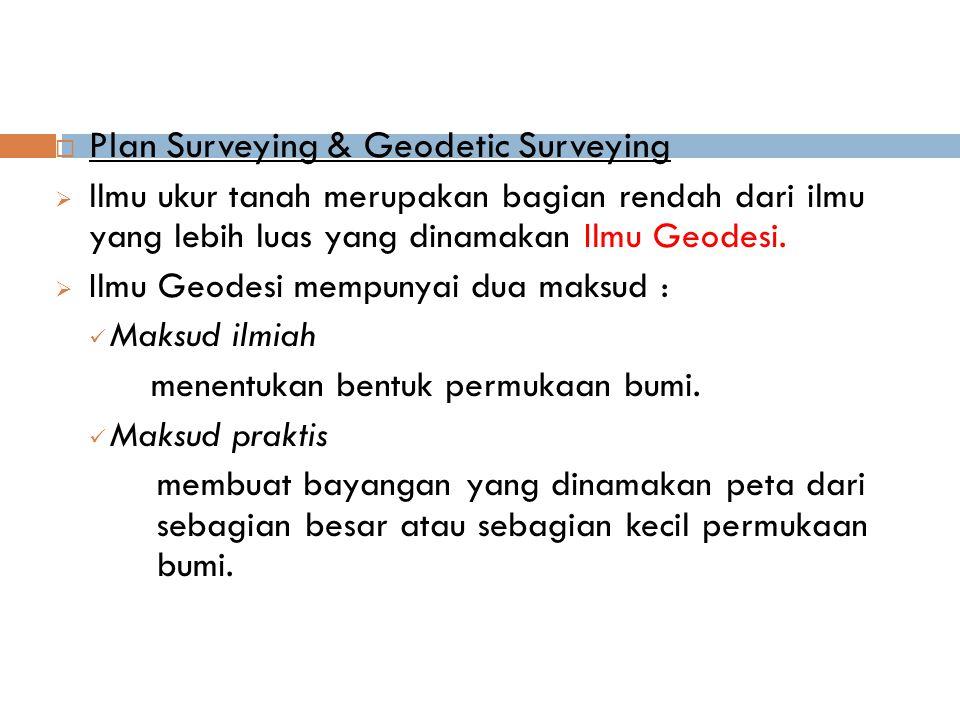  Plan Surveying & Geodetic Surveying  llmu ukur tanah merupakan bagian rendah dari ilmu yang lebih luas yang dinamakan Ilmu Geodesi.  Ilmu Geodesi