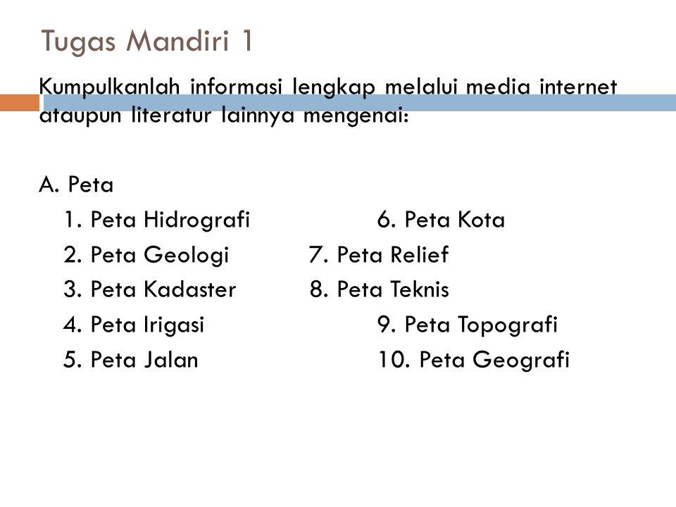 Tugas Mandiri 1 Kumpulkanlah informasi lengkap melalui media internet ataupun literatur lainnya mengenai: A. Peta 1. Peta Hidrografi6. Peta Kota 2. Pe