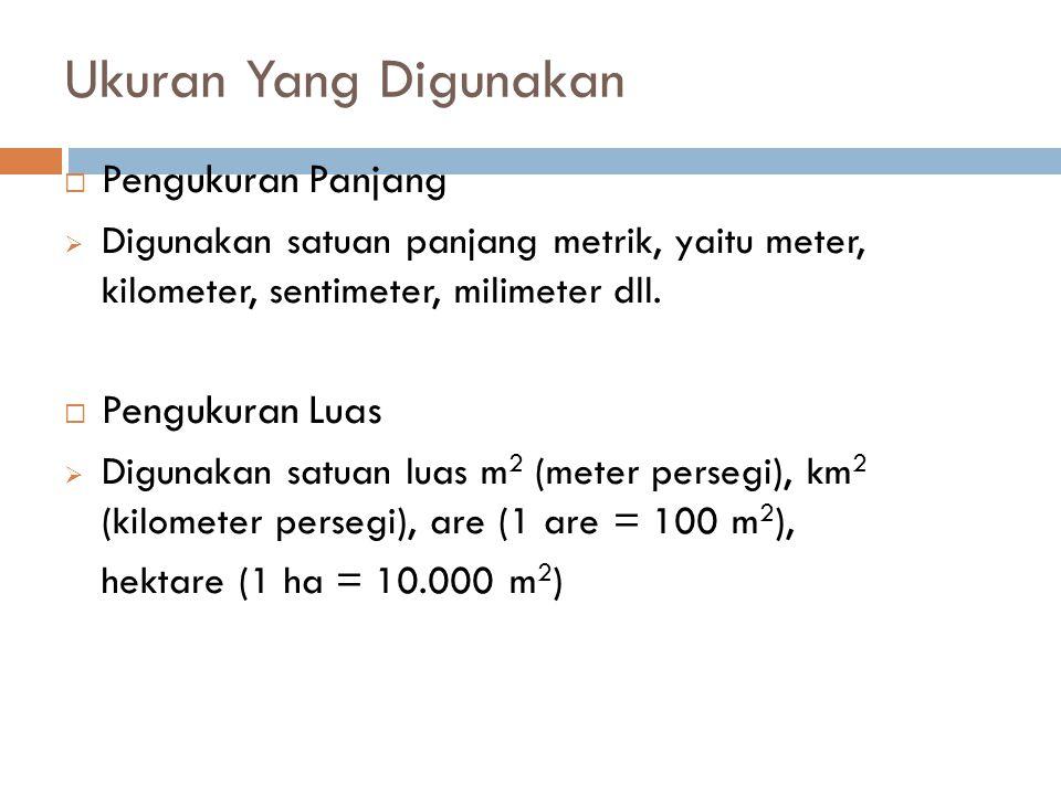 Ukuran Yang Digunakan  Pengukuran Panjang  Digunakan satuan panjang metrik, yaitu meter, kilometer, sentimeter, milimeter dll.  Pengukuran Luas  D
