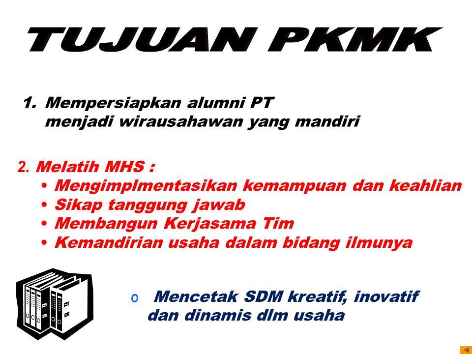 1.Mempersiapkan alumni PT menjadi wirausahawan yang mandiri 2. Melatih MHS : Mengimplmentasikan kemampuan dan keahlian Sikap tanggung jawab Membangun