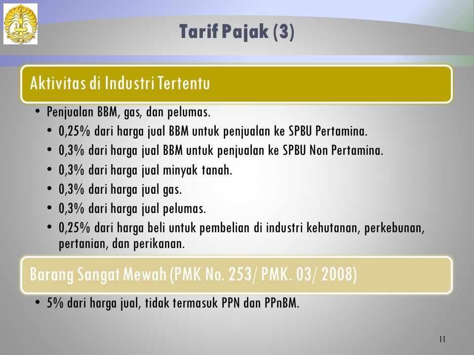 Tarif Pajak (3) Aktivitas di Industri Tertentu Penjualan BBM, gas, dan pelumas.