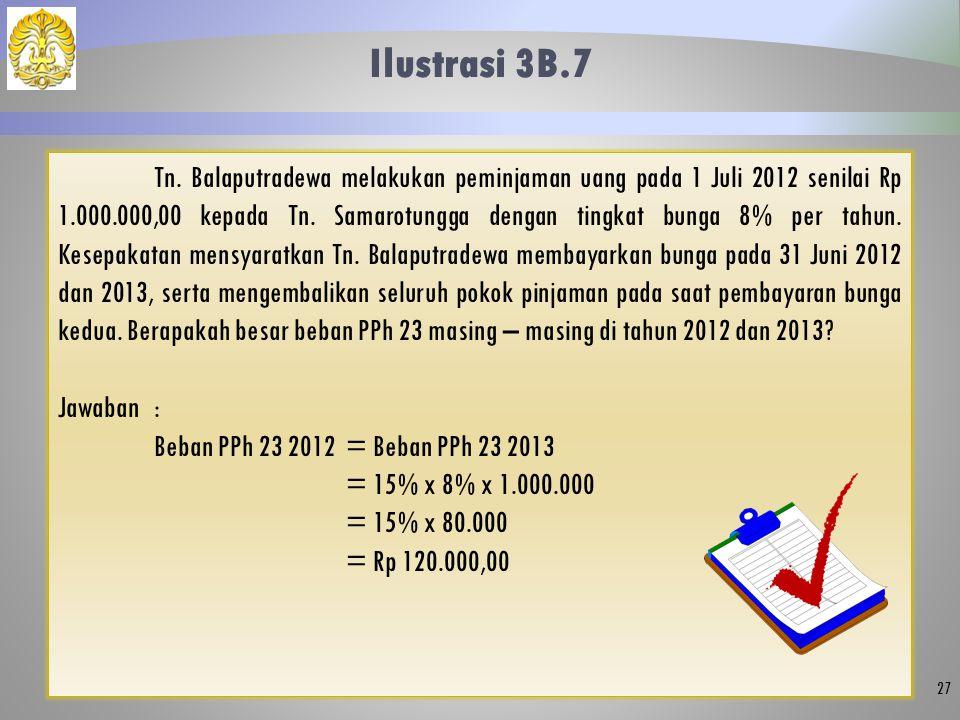 Ilustrasi 3B.7 27 Tn. Balaputradewa melakukan peminjaman uang pada 1 Juli 2012 senilai Rp 1.000.000,00 kepada Tn. Samarotungga dengan tingkat bunga 8%