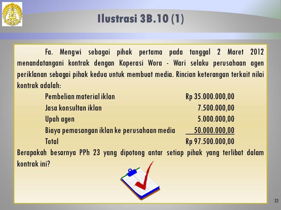 Ilustrasi 3B.10 (1) 33 Fa. Mengwi sebagai pihak pertama pada tanggal 2 Maret 2012 menandatangani kontrak dengan Koperasi Wora - Wari selaku perusahaan