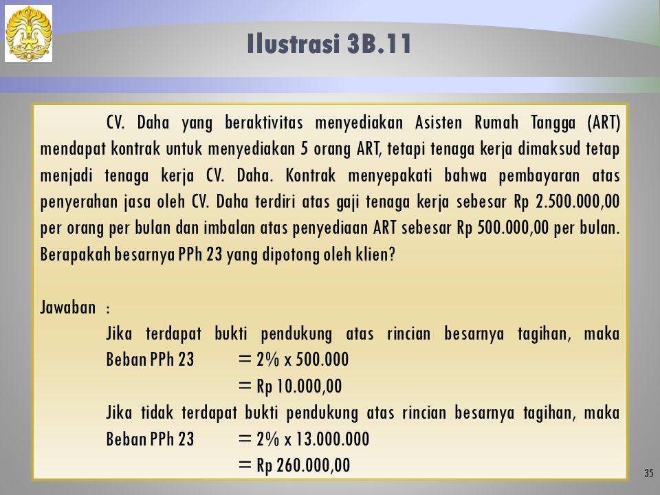 Ilustrasi 3B.11 35 CV. Daha yang beraktivitas menyediakan Asisten Rumah Tangga (ART) mendapat kontrak untuk menyediakan 5 orang ART, tetapi tenaga ker