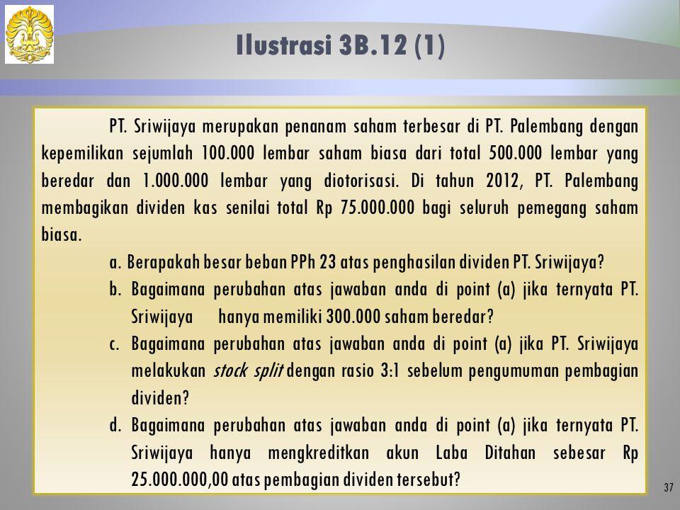 Ilustrasi 3B.12 (1) 37 PT. Sriwijaya merupakan penanam saham terbesar di PT. Palembang dengan kepemilikan sejumlah 100.000 lembar saham biasa dari tot