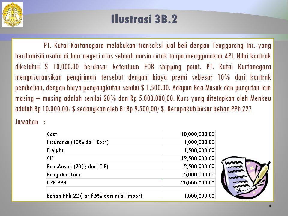Ilustrasi 3B.2 PT. Kutai Kartanegara melakukan transaksi jual beli dengan Tenggarong Inc. yang berdomisili usaha di luar negeri atas sebuah mesin ceta