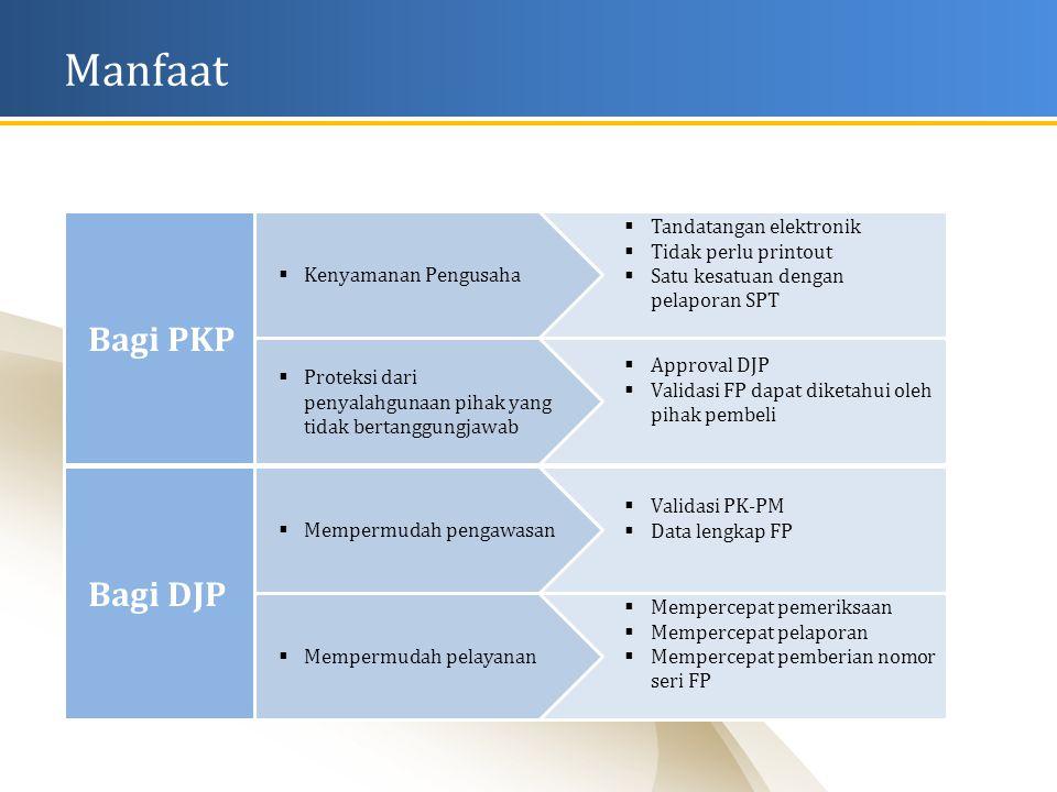  Approval DJP  Validasi FP dapat diketahui oleh pihak pembeli  Tandatangan elektronik  Tidak perlu printout  Satu kesatuan dengan pelaporan SPT  Kenyamanan Pengusaha Manfaat  Proteksi dari penyalahgunaan pihak yang tidak bertanggungjawab Bagi PKP  Mempercepat pemeriksaan  Mempercepat pelaporan  Mempercepat pemberian nomor seri FP  Validasi PK-PM  Data lengkap FP  Mempermudah pengawasan  Mempermudah pelayanan Bagi DJP