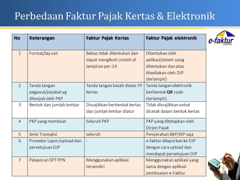Perbedaan Faktur Pajak Kertas & ElektronikNoKeterangan Faktur Pajak Kertas Faktur Pajak elektronik 1Format/lay out Bebas tidak ditentukan dan dapat me