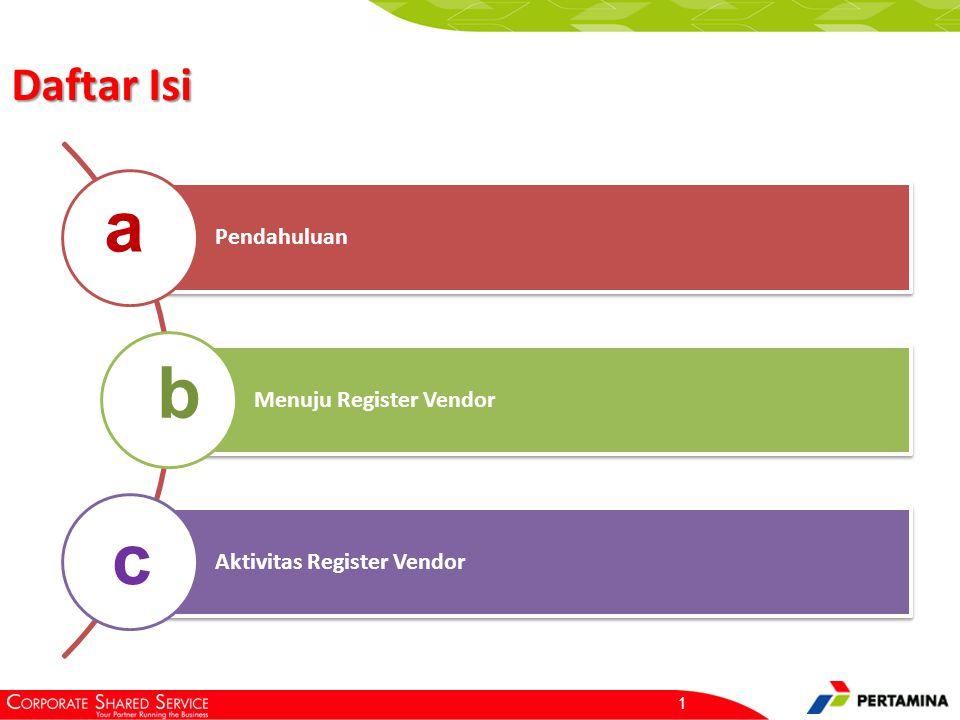 1 Pendahuluan Menuju Register Vendor Aktivitas Register Vendor a b c Daftar Isi