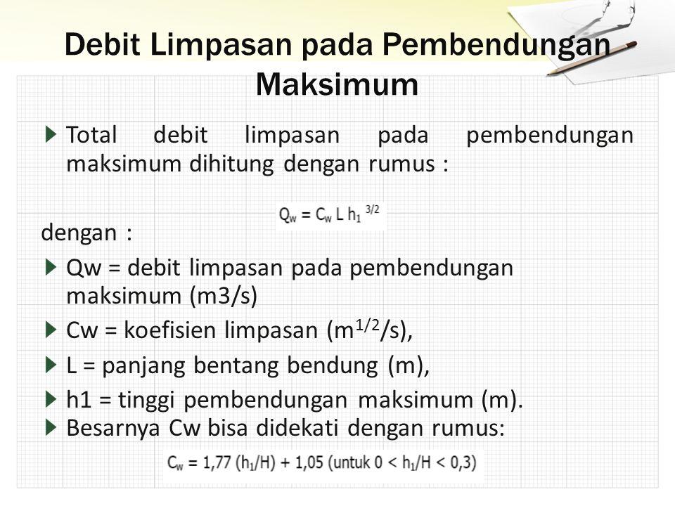 Total debit limpasan pada pembendungan maksimum dihitung dengan rumus : dengan : Qw = debit limpasan pada pembendungan maksimum (m3/s) Cw = koefisien