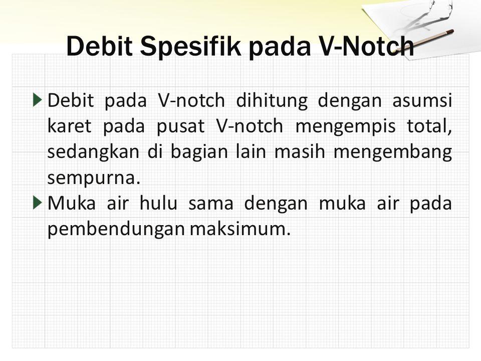 Debit pada V-notch dihitung dengan asumsi karet pada pusat V-notch mengempis total, sedangkan di bagian lain masih mengembang sempurna. Muka air hulu