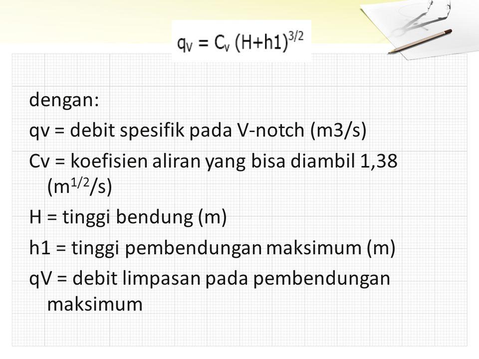 dengan: qv = debit spesifik pada V-notch (m3/s) Cv = koefisien aliran yang bisa diambil 1,38 (m 1/2 /s) H = tinggi bendung (m) h1 = tinggi pembendunga
