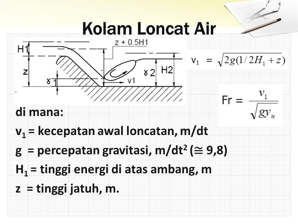 di mana: v 1 = kecepatan awal loncatan, m/dt g = percepatan gravitasi, m/dt 2 ( ≅ 9,8) H 1 = tinggi energi di atas ambang, m z = tinggi jatuh, m.