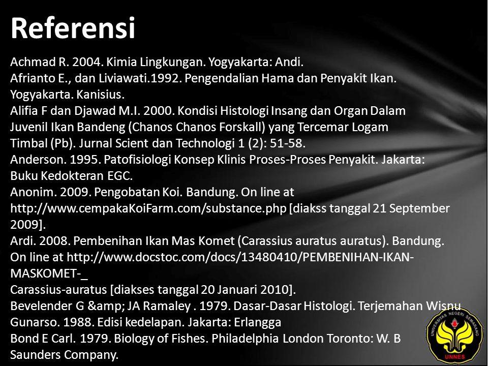 Referensi Achmad R. 2004. Kimia Lingkungan. Yogyakarta: Andi.