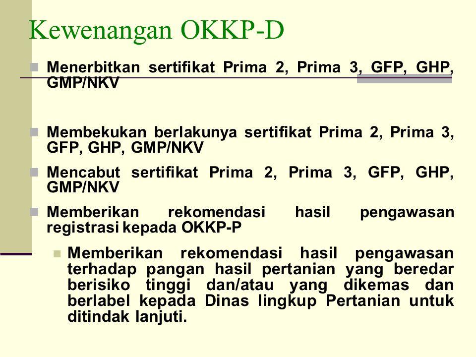 Kewenangan OKKP-D Menerbitkan sertifikat Prima 2, Prima 3, GFP, GHP, GMP/NKV Membekukan berlakunya sertifikat Prima 2, Prima 3, GFP, GHP, GMP/NKV Menc