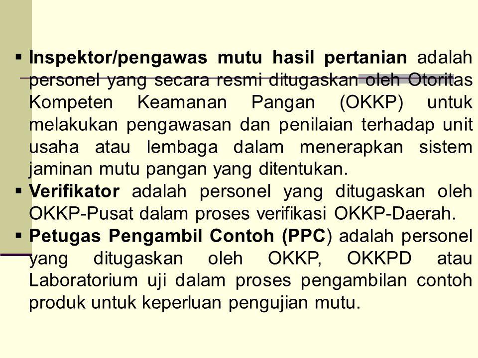  Inspektor/pengawas mutu hasil pertanian adalah personel yang secara resmi ditugaskan oleh Otoritas Kompeten Keamanan Pangan (OKKP) untuk melakukan p