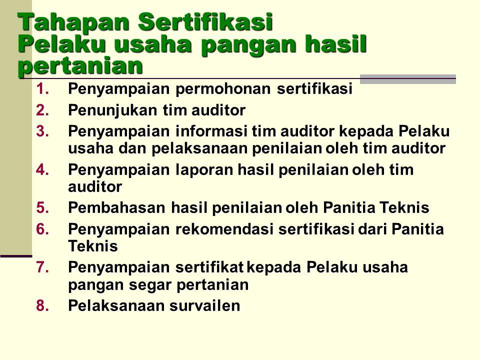 1.Penyampaian permohonan sertifikasi 2.Penunjukan tim auditor 3.Penyampaian informasi tim auditor kepada Pelaku usaha dan pelaksanaan penilaian oleh t