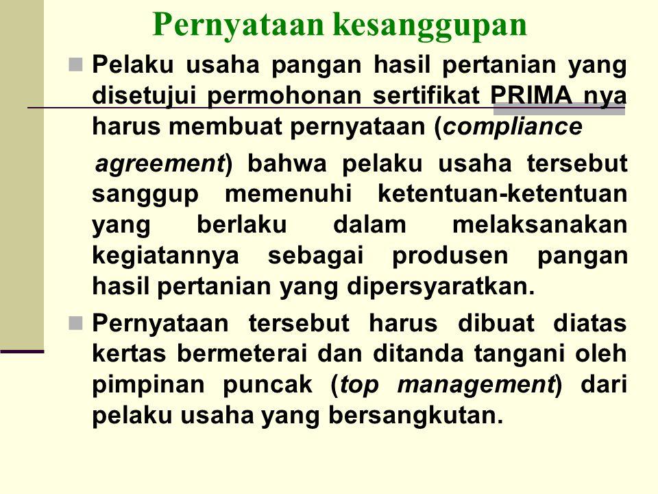 Pernyataan kesanggupan Pelaku usaha pangan hasil pertanian yang disetujui permohonan sertifikat PRIMA nya harus membuat pernyataan (compliance agreeme