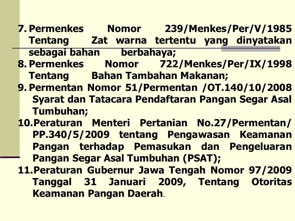 7.Permenkes Nomor 239/Menkes/Per/V/1985 Tentang Zat warna tertentu yang dinyatakan sebagai bahan berbahaya; 8.Permenkes Nomor 722/Menkes/Per/IX/1998 T