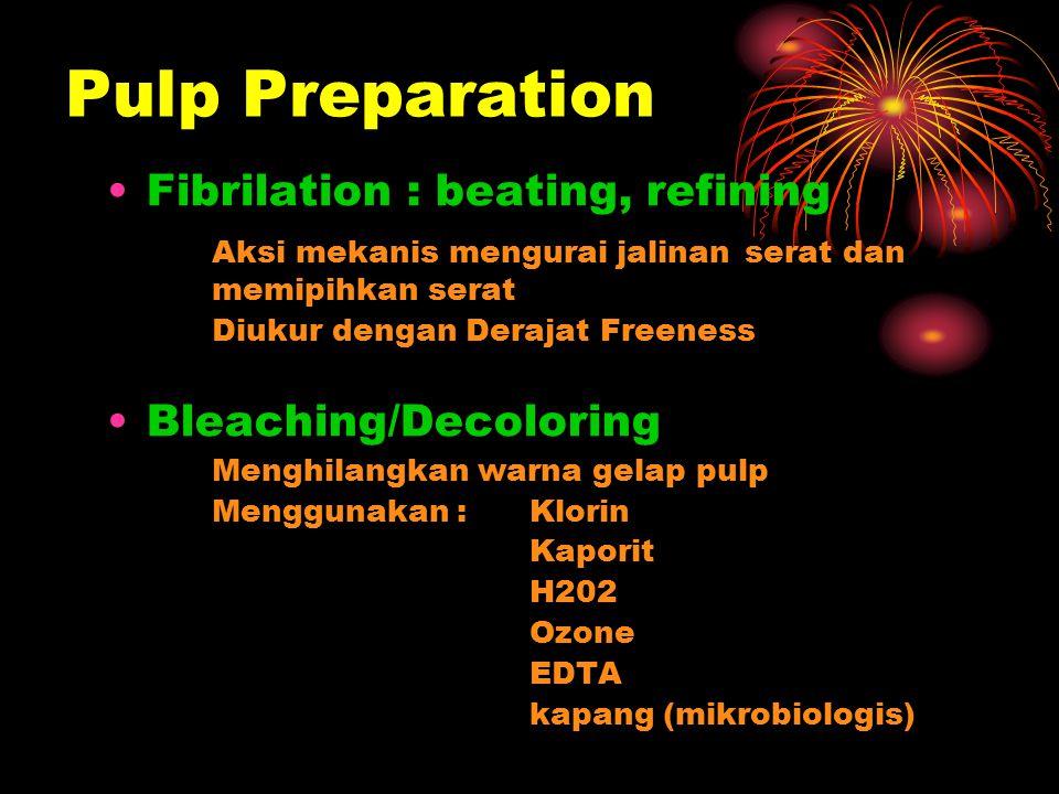 Pulp Preparation Fibrilation : beating, refining Aksi mekanis mengurai jalinan serat dan memipihkan serat Diukur dengan Derajat Freeness Bleaching/Dec