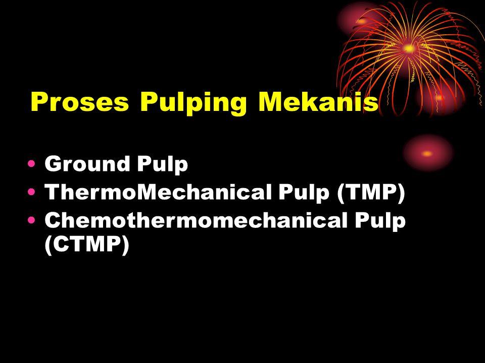 Proses Pulping Mekanis Ground Pulp ThermoMechanical Pulp (TMP) Chemothermomechanical Pulp (CTMP)