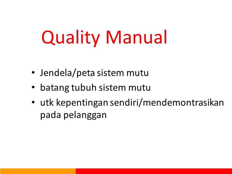 Struktur Dokumen SMM Level I : Kebijakan Mutu Kebijakan Mutu / Peta Proses / Sasaran MutuPeta Proses Level II : 'APA', oleh 'SIAPA' dan 'KAPAN' sesuatu dilakukan Level III : BAGAIMANA dilakukan Level IV : BUKTI aktifitas Pedoman Mutu Prosedur Sistem Dokumen Penunjang Contoh : - Instruksi KerjaInstruksi Kerja - Ceklis - Gambar Kerja - Juknis dll.