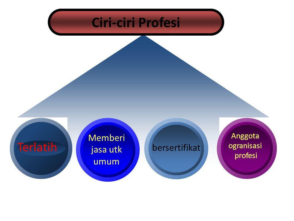 Ciri-ciri Profesi Terlatih bersertifikat Memberi jasa utk umum Anggota ogranisasi profesi