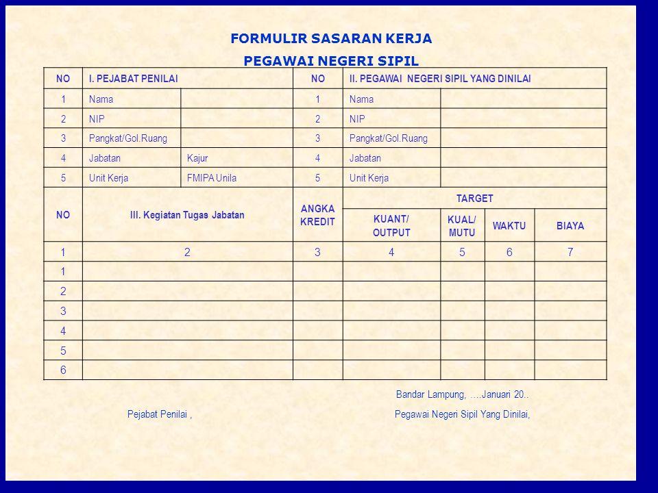 10 FORMULIR SASARAN KERJ A PEGAWAI NEGERI SIPIL Bandar Lampung, ….Januari 20.. Pejabat Penilai,Pegawai Negeri Sipil Yang Dinilai, FORMULIR SASARAN KER