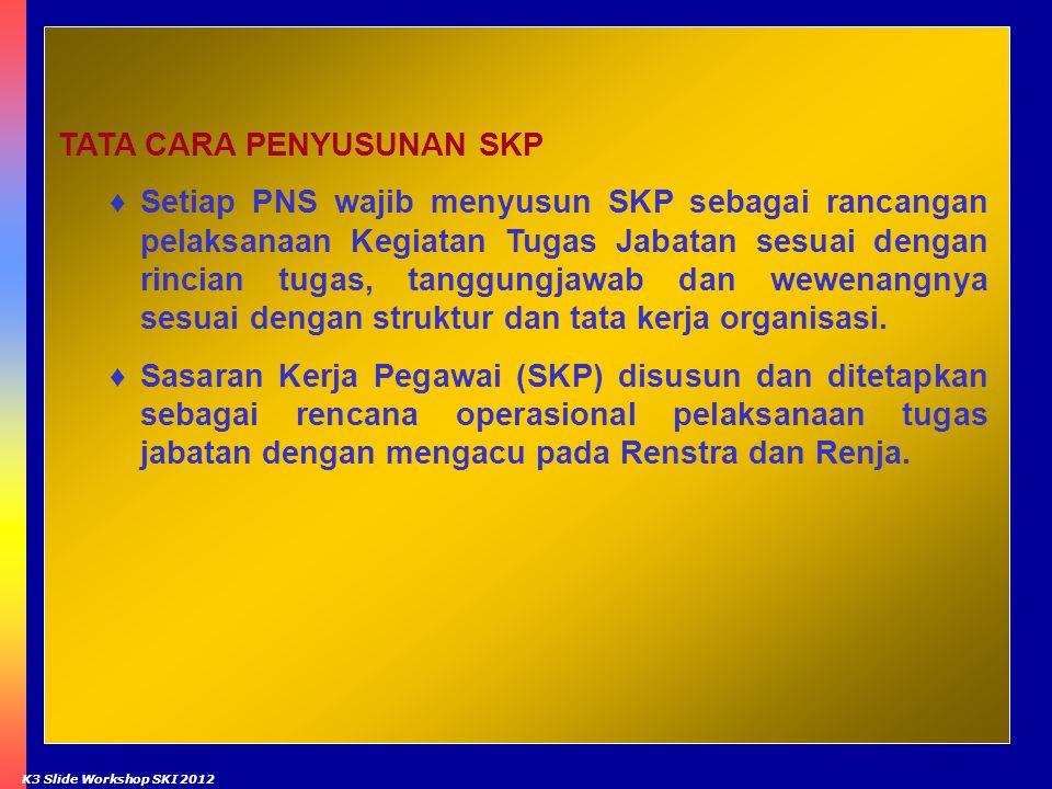 7 TATA CARA PENYUSUNAN SKP ♦Setiap PNS wajib menyusun SKP sebagai rancangan pelaksanaan Kegiatan Tugas Jabatan sesuai dengan rincian tugas, tanggungja