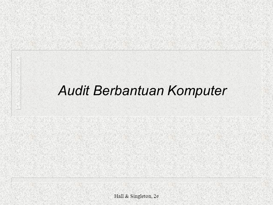 Hall & Singleton, 2e Audit Berbantuan Komputer