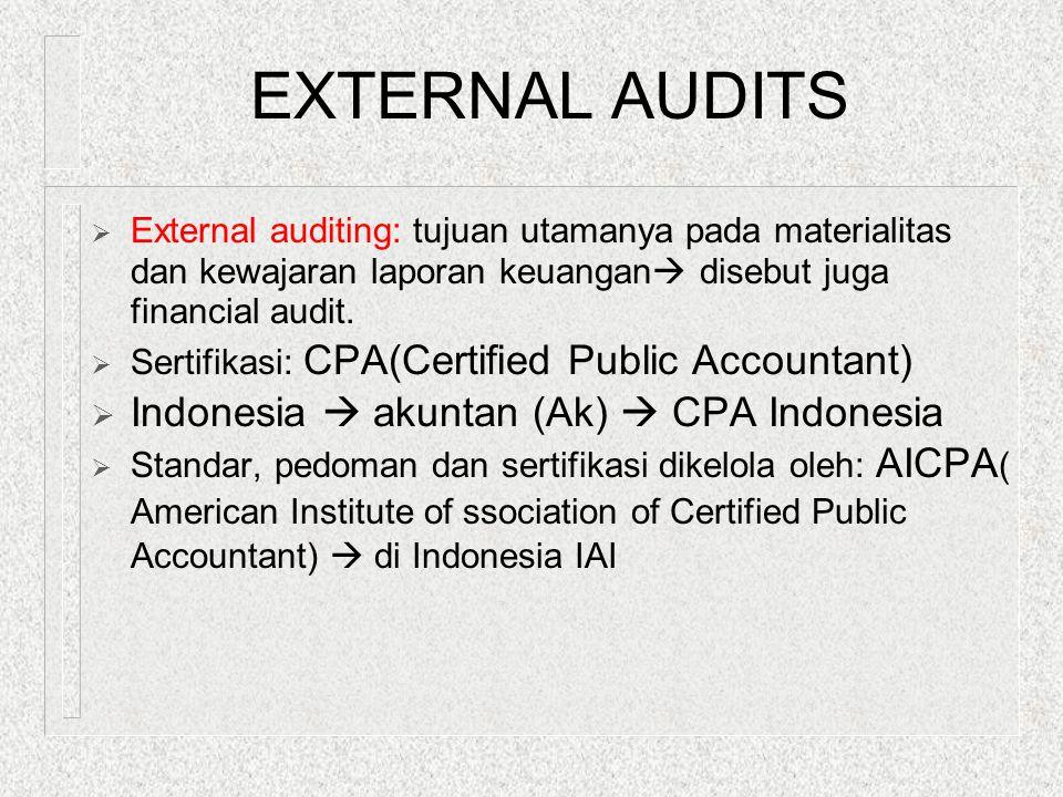 EXTERNAL AUDITS  External auditing: tujuan utamanya pada materialitas dan kewajaran laporan keuangan  disebut juga financial audit.  Sertifikasi: C